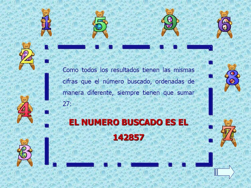 Como todos los resultados tienen las mismas cifras que el número buscado, ordenadas de manera diferente, siempre tienen que sumar 27: EL NUMERO BUSCAD