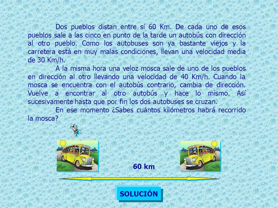 Llegaremos fácilmente a la solución haciendo tres sencillos razonamientos: 1)Los pueblos distan entre sí 60 km.