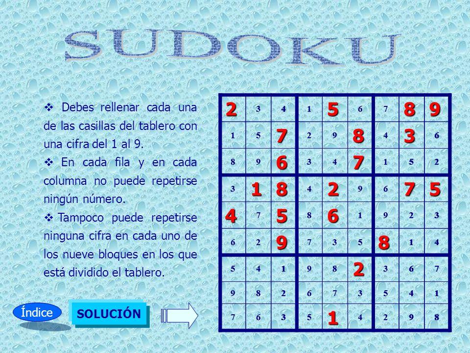 Debes rellenar cada una de las casillas del tablero con una cifra del 1 al 9. En cada fila y en cada columna no puede repetirse ningún número. Tampoco