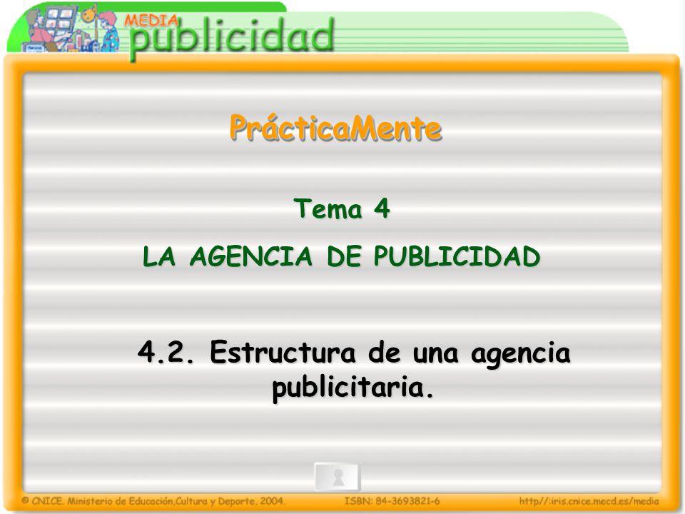PrácticaMentePrácticaMente 4.2. Estructura de una agencia publicitaria. Tema 4 LA AGENCIA DE PUBLICIDAD