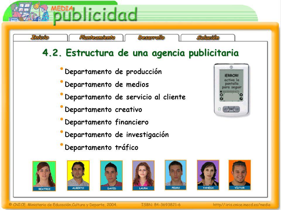 4.2. Estructura de una agencia publicitaria Departamento de producción Departamento de medios Departamento de servicio al cliente Departamento creativ