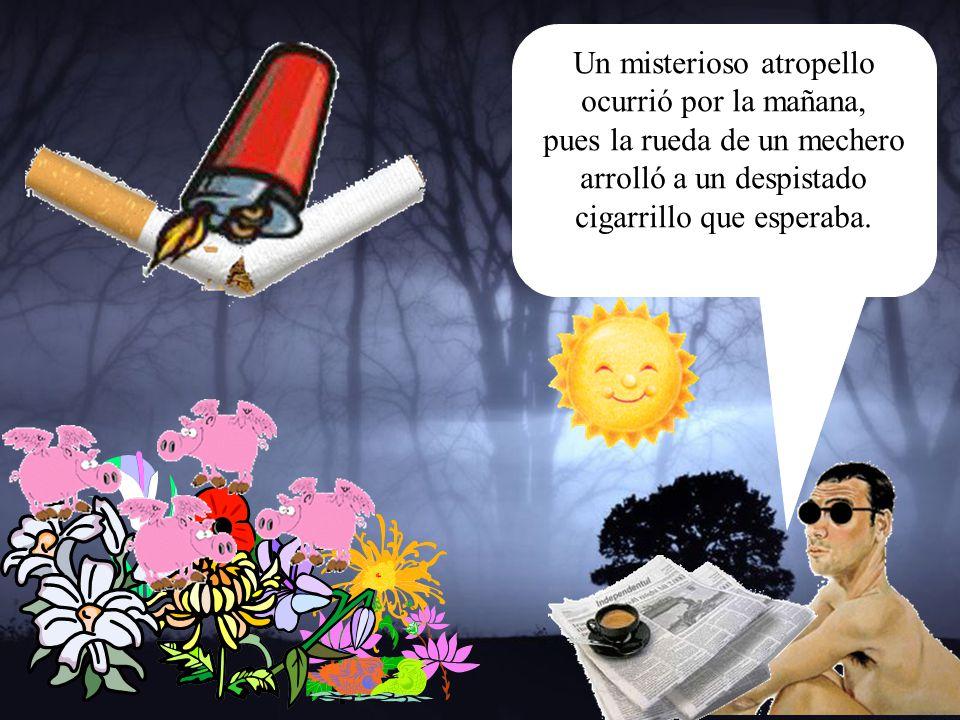 Un misterioso atropello ocurrió por la mañana, pues la rueda de un mechero arrolló a un despistado cigarrillo que esperaba.