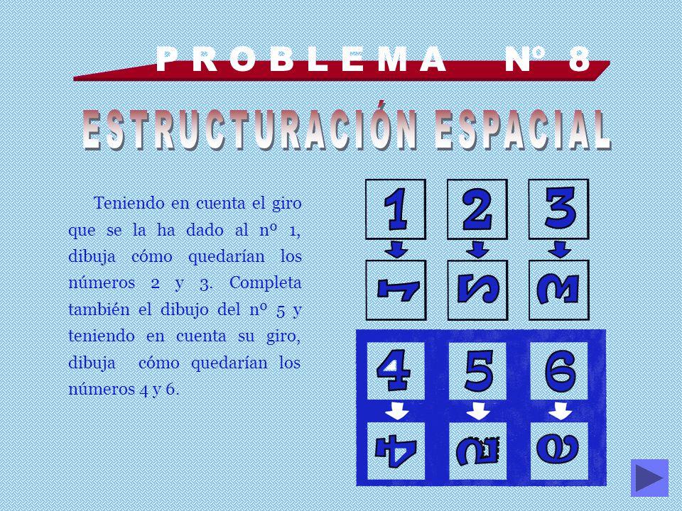 P R O B L E M A Nº 8 Teniendo en cuenta el giro que se la ha dado al nº 1, dibuja cómo quedarían los números 2 y 3.