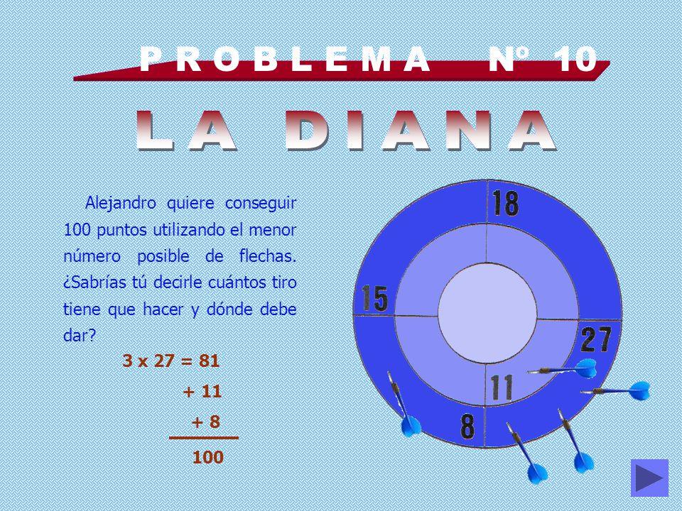 P R O B L E M A Nº 10 Alejandro quiere conseguir 100 puntos utilizando el menor número posible de flechas.