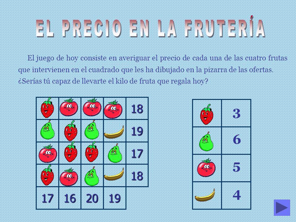 El juego de hoy consiste en averiguar el precio de cada una de las cuatro frutas que intervienen en el cuadrado que les ha dibujado en la pizarra de las ofertas.