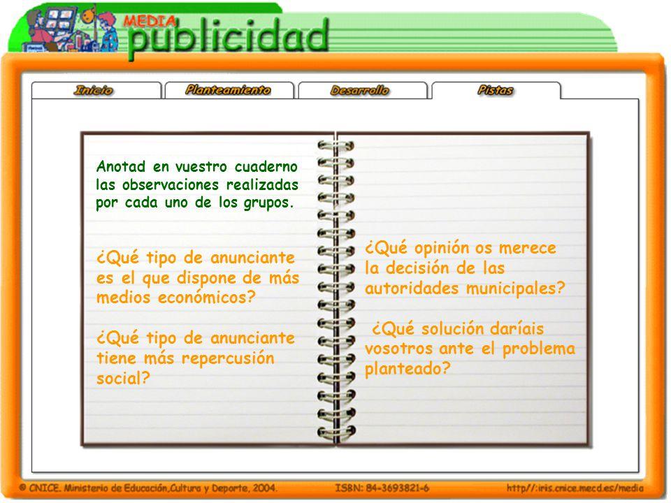 Anotad en vuestro cuaderno las observaciones realizadas por cada uno de los grupos.