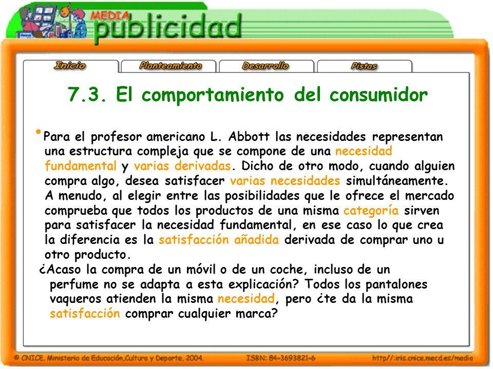 7.3. El comportamiento del consumidor Para el profesor americano L.