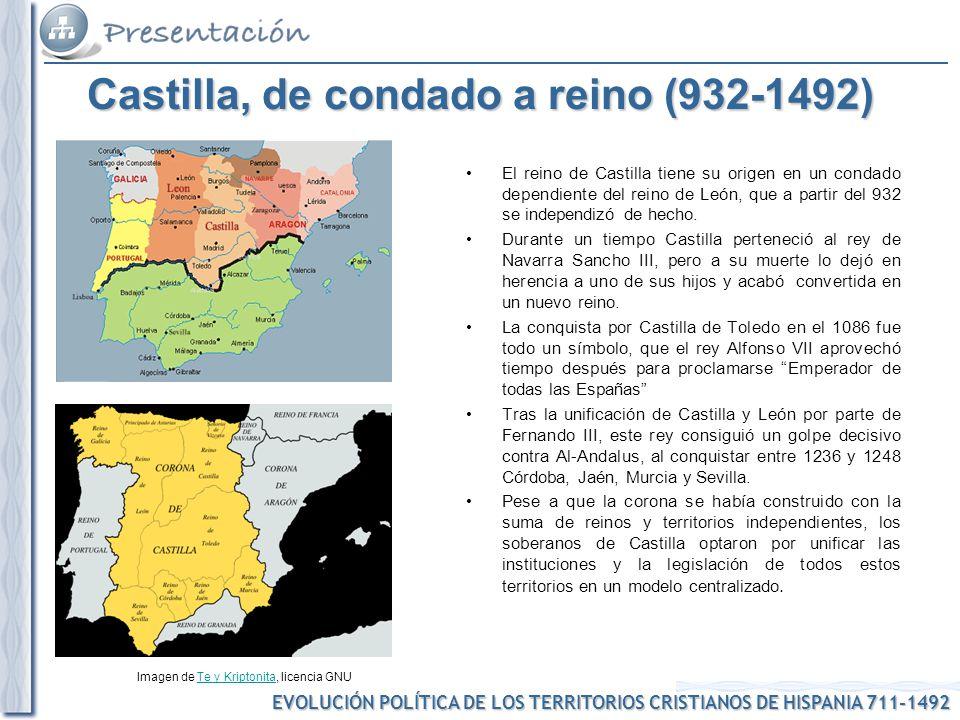 EVOLUCIÓN POLÍTICA DE LOS TERRITORIOS CRISTIANOS DE HISPANIA 711-1492 Imagen de Te y Kriptonita, licencia GNUTe y Kriptonita Castilla, de condado a re