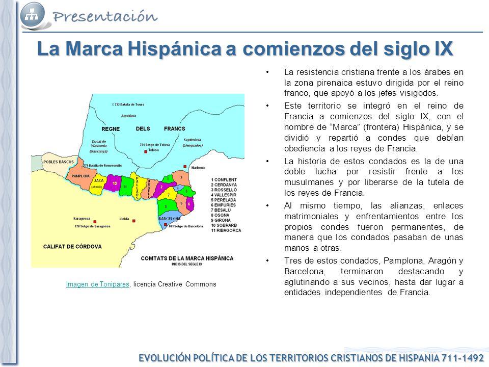 EVOLUCIÓN POLÍTICA DE LOS TERRITORIOS CRISTIANOS DE HISPANIA 711-1492 Imagen de ToniparesImagen de Tonipares, licencia Creative Commons La Marca Hispá