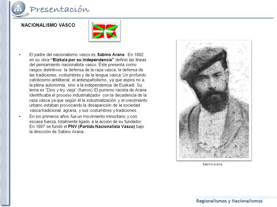 Regionalismos y Nacionalismos El padre del nacionalismo vasco es Sabino Arana.