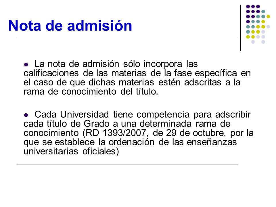 Nota de admisión La nota de admisión sólo incorpora las calificaciones de las materias de la fase específica en el caso de que dichas materias estén adscritas a la rama de conocimiento del título.