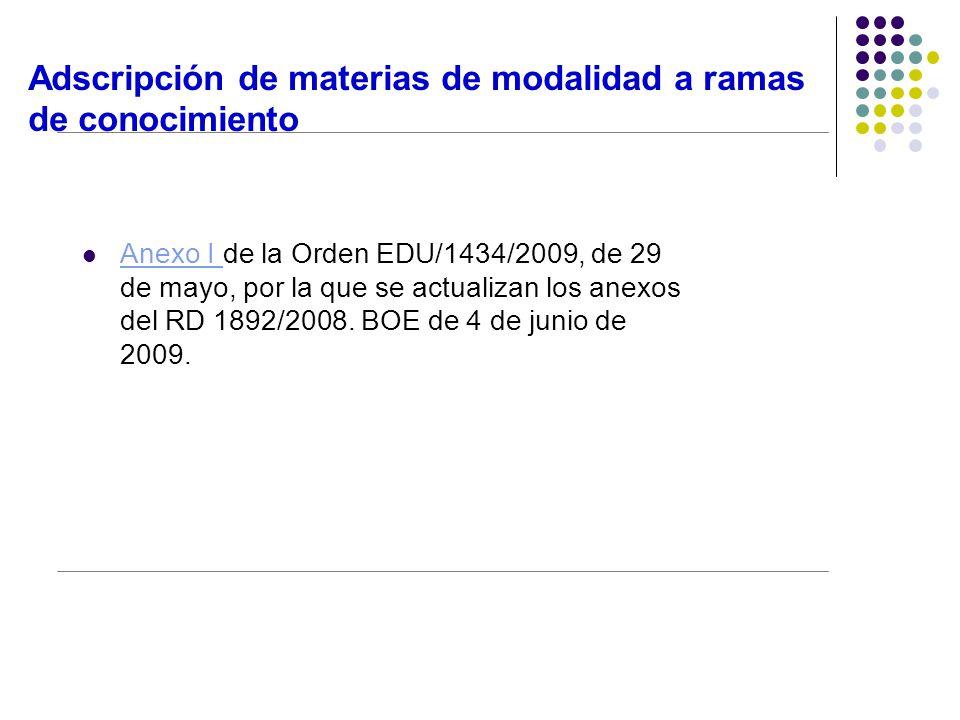 Adscripción de materias de modalidad a ramas de conocimiento Anexo I de la Orden EDU/1434/2009, de 29 Anexo I de mayo, por la que se actualizan los anexos del RD 1892/2008.
