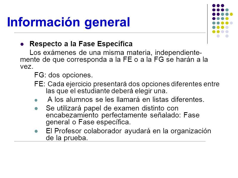 Información general Respecto a la Fase Específica Los exámenes de una misma materia, independiente- mente de que corresponda a la FE o a la FG se harán a la vez.