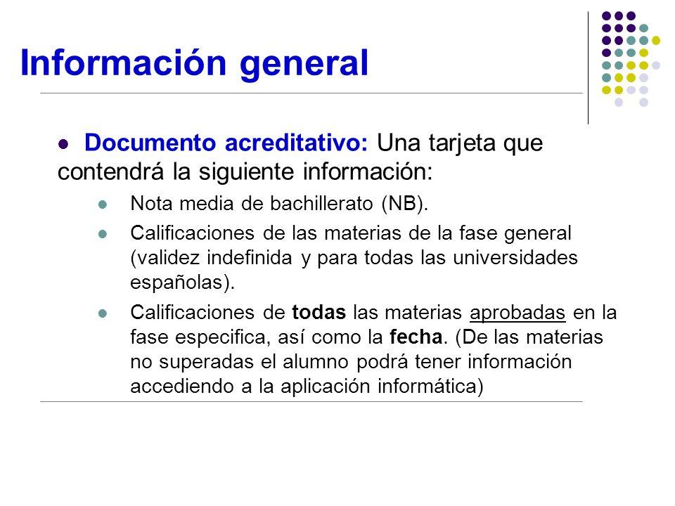 Información general Documento acreditativo: Una tarjeta que contendrá la siguiente información: Nota media de bachillerato (NB).