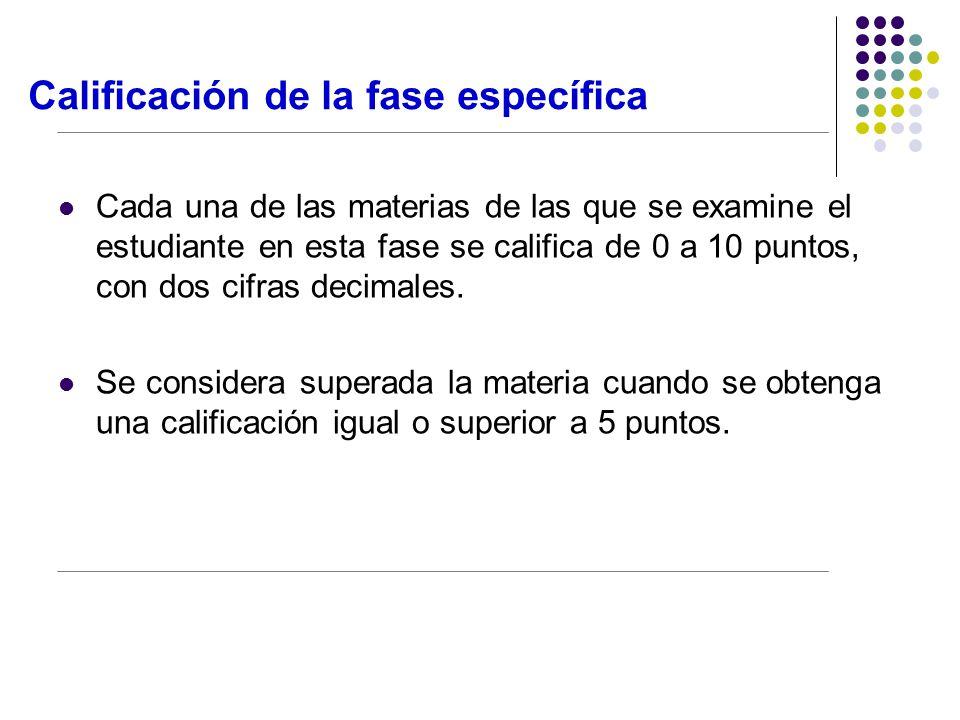 Calificación de la fase específica Cada una de las materias de las que se examine el estudiante en esta fase se califica de 0 a 10 puntos, con dos cifras decimales.