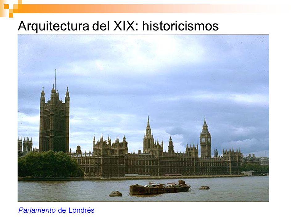 Arquitectura del XIX: historicismos Parlamento de Londrés