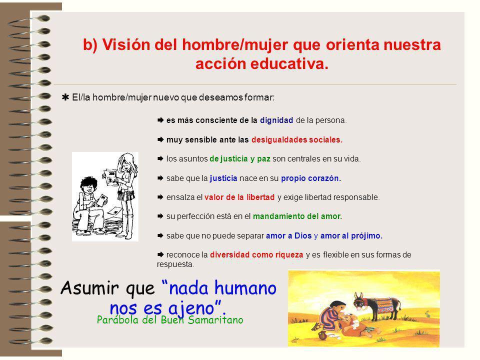 b) Visión del hombre/mujer que orienta nuestra acción educativa. El/la hombre/mujer nuevo que deseamos formar: es más consciente de la dignidad de la