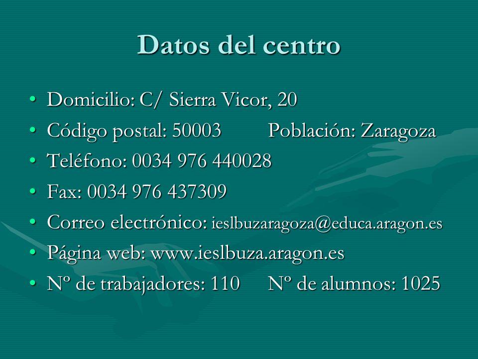 Datos del centro Domicilio: C/ Sierra Vicor, 20Domicilio: C/ Sierra Vicor, 20 Código postal: 50003Población: ZaragozaCódigo postal: 50003Población: Zaragoza Teléfono: 0034 976 440028Teléfono: 0034 976 440028 Fax: 0034 976 437309Fax: 0034 976 437309 Correo electrónico: ieslbuzaragoza@educa.aragon.esCorreo electrónico: ieslbuzaragoza@educa.aragon.es Página web: www.ieslbuza.aragon.esPágina web: www.ieslbuza.aragon.es Nº de trabajadores: 110Nº de alumnos: 1025Nº de trabajadores: 110Nº de alumnos: 1025