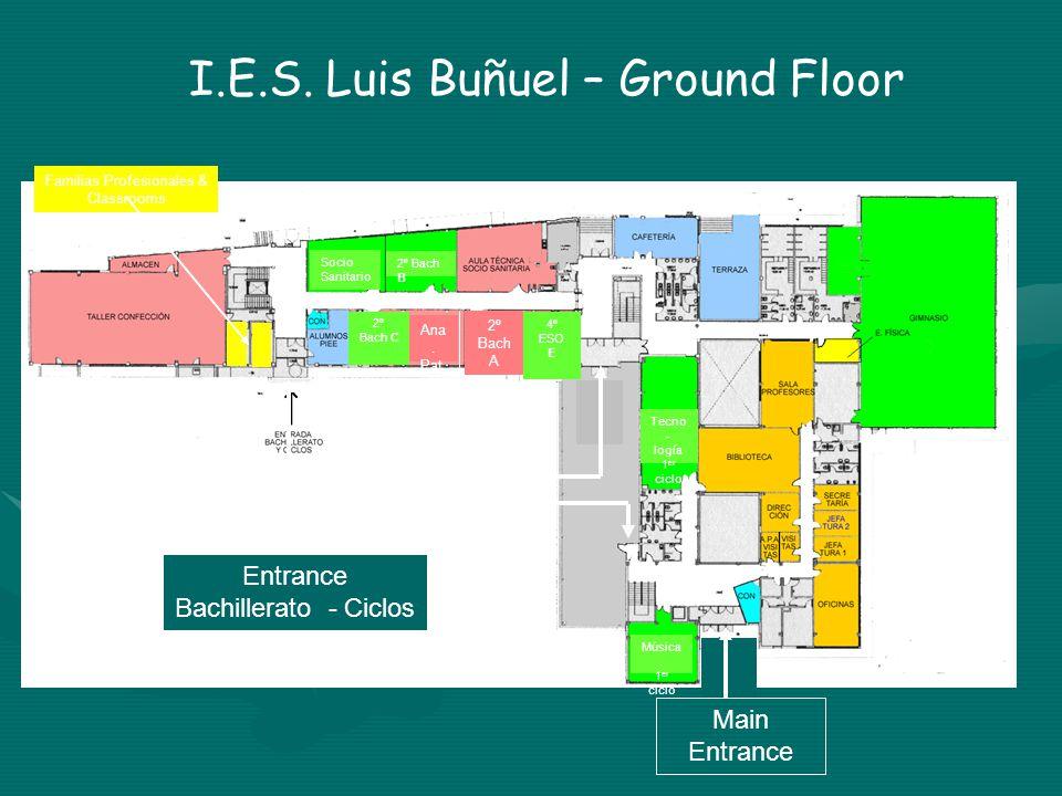 Familias Profesionales & Classrooms Entrance Bachillerato - Ciclos Main Entrance Entrada E.S.O.