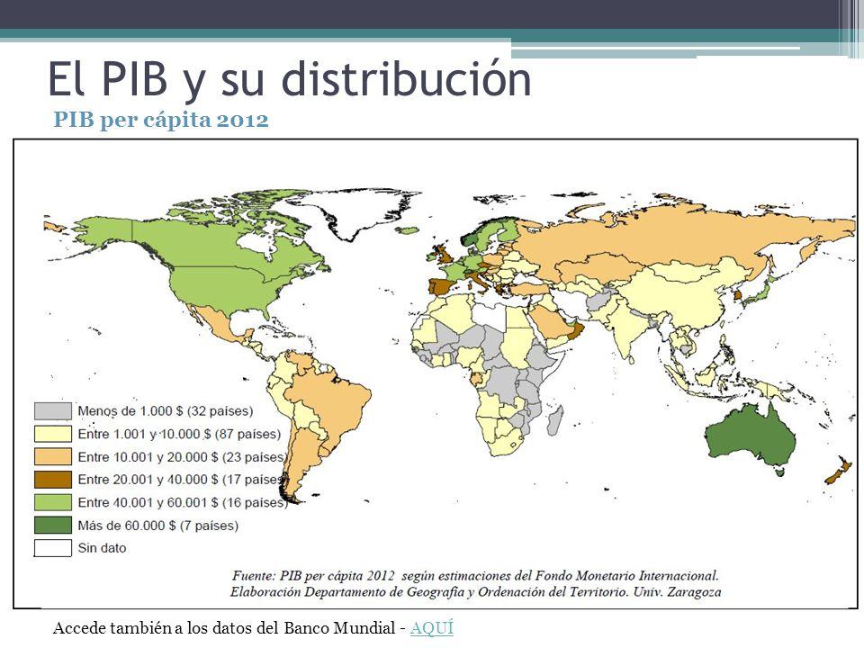 El PIB y su distribución PIB per cápita 2012 Accede también a los datos del Banco Mundial - AQUÍAQUÍ