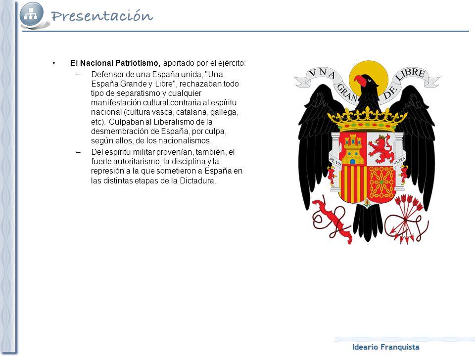 Ideario Franquista El Nacional Catolicismo, aportado por la iglesia católica: –Es decir, la defensa de la religión y la moral católicas a ultranza.