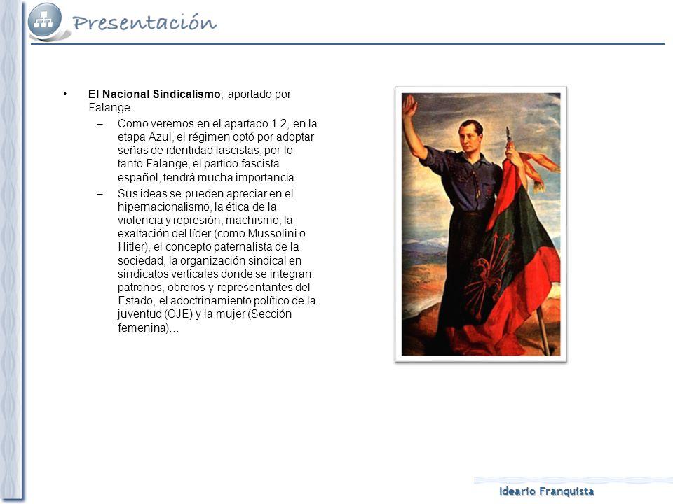 Ideario Franquista El Nacional Sindicalismo, aportado por Falange. –Como veremos en el apartado 1.2, en la etapa Azul, el régimen optó por adoptar señ