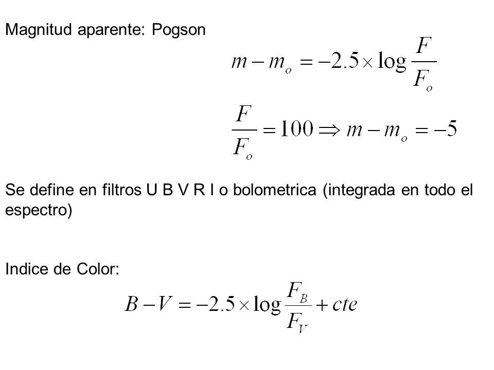 Magnitud aparente: Pogson Se define en filtros U B V R I o bolometrica (integrada en todo el espectro) Indice de Color:
