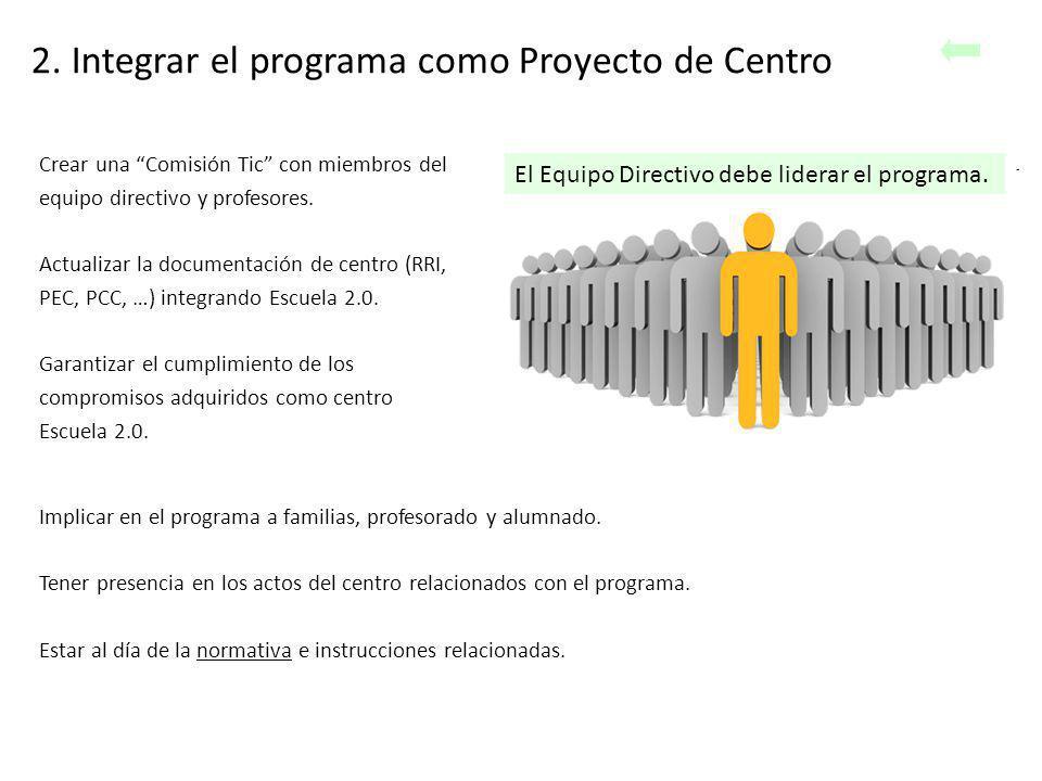 2. Integrar el programa como Proyecto de Centro El Equipo Directivo debe liderar el programa. Crear una Comisión Tic con miembros del equipo directivo