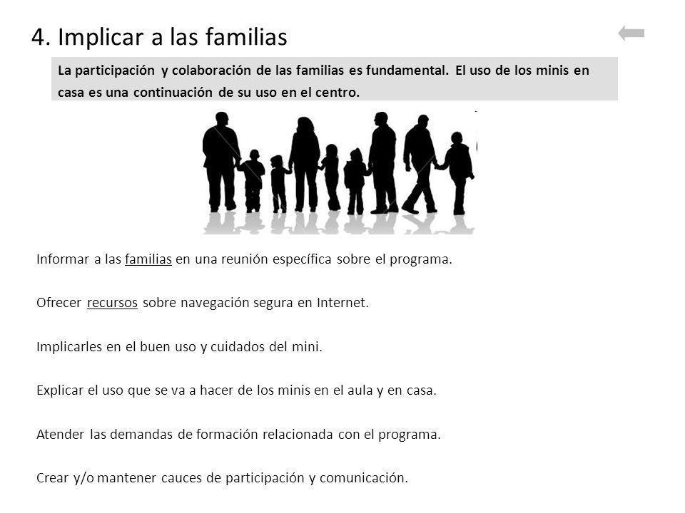 4. Implicar a las familias Informar a las familias en una reunión específica sobre el programa.familias Ofrecer recursos sobre navegación segura en In