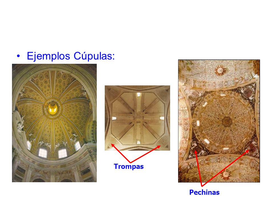 Ejemplos Cúpulas: Trompas Pechinas