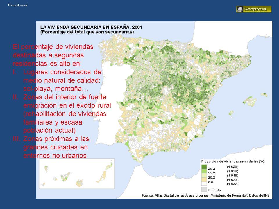 El mundo rural Estos cambios están dando lugar a que en el territorio rural encontremos CINCO SITUACIONES: 1.Zonas regresivas demográficamente, muy envejecidas, con actividades agrarias escasamente competitivas, y escasa accesibilidad.