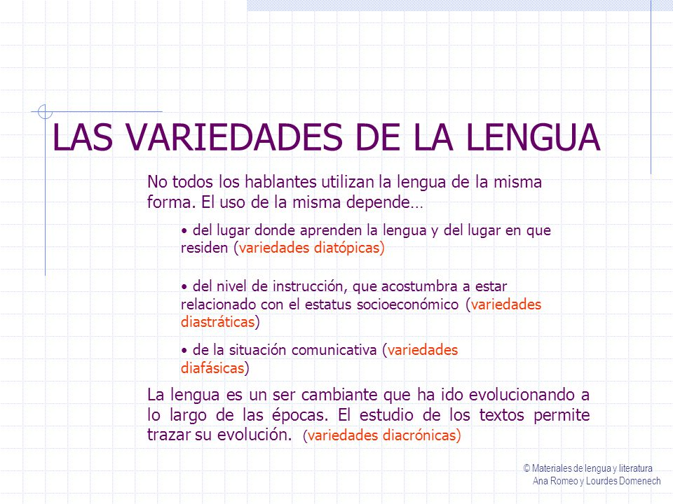 LAS VARIEDADES DE LA LENGUA No todos los hablantes utilizan la lengua de la misma forma.