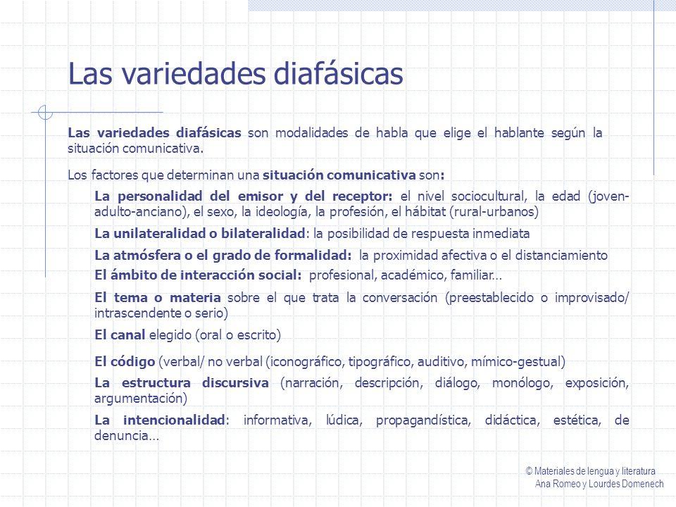 Las variedades diacrónicas Las variedades diacrónicas son los cambios que ha sufrido la lengua a lo largo de la historia.