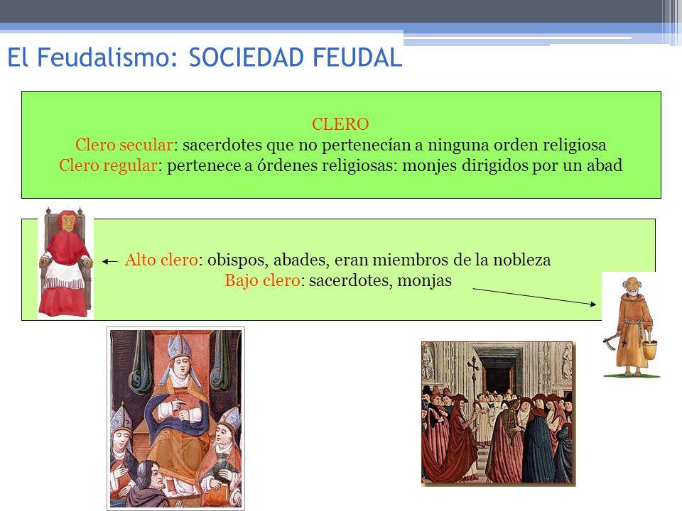 CLERO Clero secular: sacerdotes que no pertenecían a ninguna orden religiosa Clero regular: pertenece a órdenes religiosas: monjes dirigidos por un ab