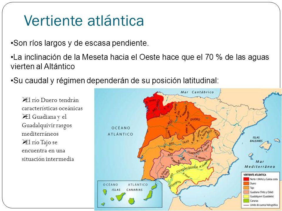 Vertiente atlántica Río Miño Posee rasgos de los ríos de la vertiente cantábrica