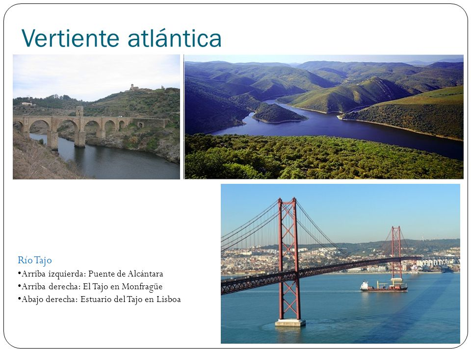 Vertiente atlántica Río Guadiana Arriba izquierda: Laguna de Ruidera (nacimiento) Arriba derecha: Guadiana a su paso por Mérida Abajo derecha: Curso bajo del Guadiana.