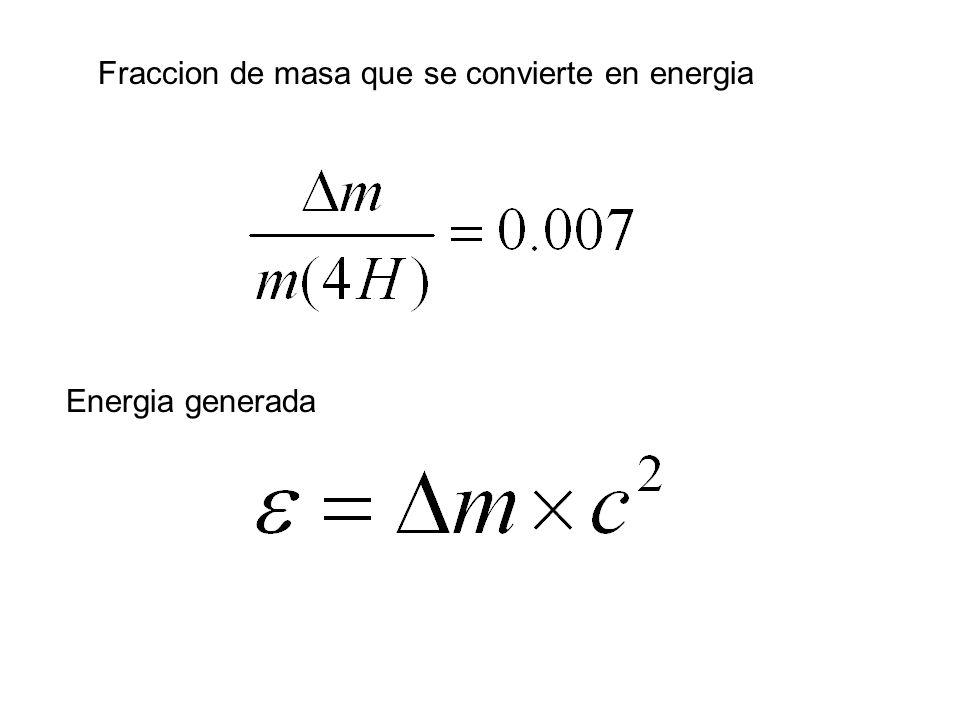 Fraccion de masa que se convierte en energia Energia generada