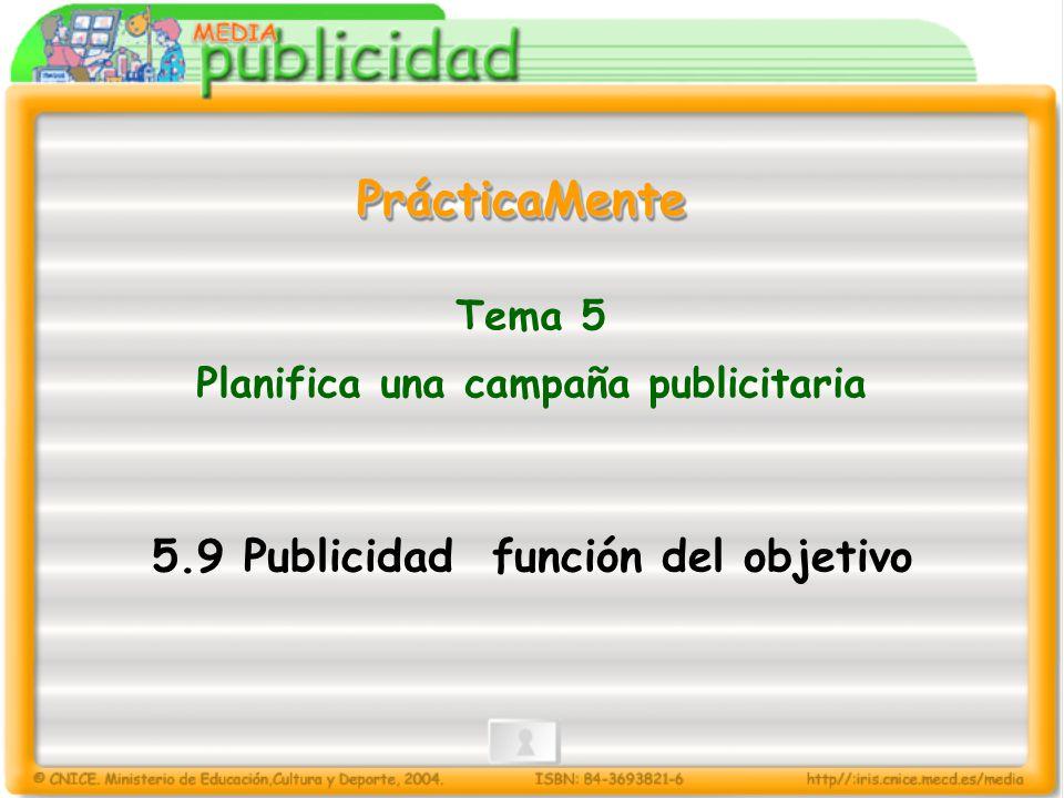 Tema 5 Planifica una campaña publicitaria 5.9 Publicidad función del objetivo PrácticaMentePrácticaMente