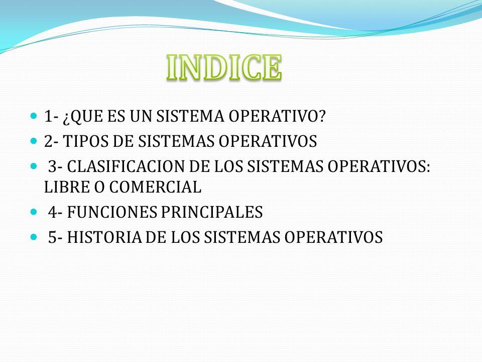 1- ¿QUE ES UN SISTEMA OPERATIVO? 2- TIPOS DE SISTEMAS OPERATIVOS 3- CLASIFICACION DE LOS SISTEMAS OPERATIVOS: LIBRE O COMERCIAL 4- FUNCIONES PRINCIPAL