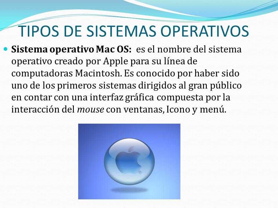 TIPOS DE SISTEMAS OPERATIVOS Sistema operativo Mac OS: es el nombre del sistema operativo creado por Apple para su línea de computadoras Macintosh. Es