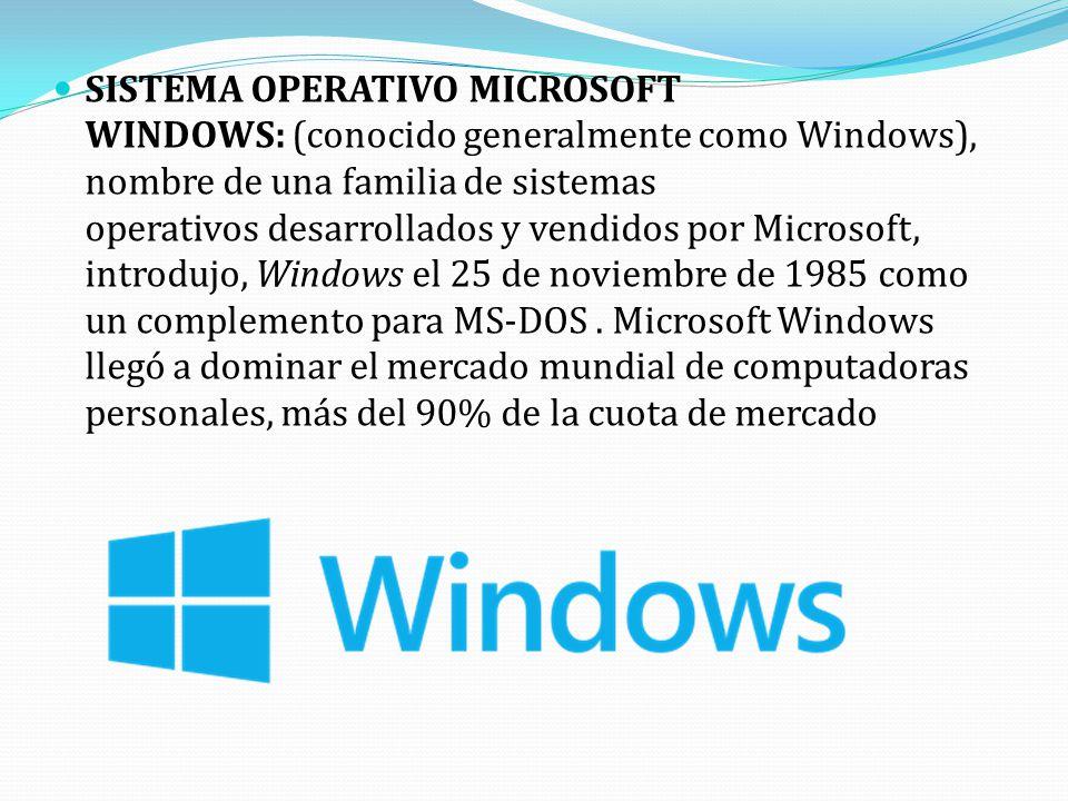 SISTEMA OPERATIVO MICROSOFT WINDOWS: (conocido generalmente como Windows), nombre de una familia de sistemas operativos desarrollados y vendidos por Microsoft, introdujo, Windows el 25 de noviembre de 1985 como un complemento para MS-DOS.