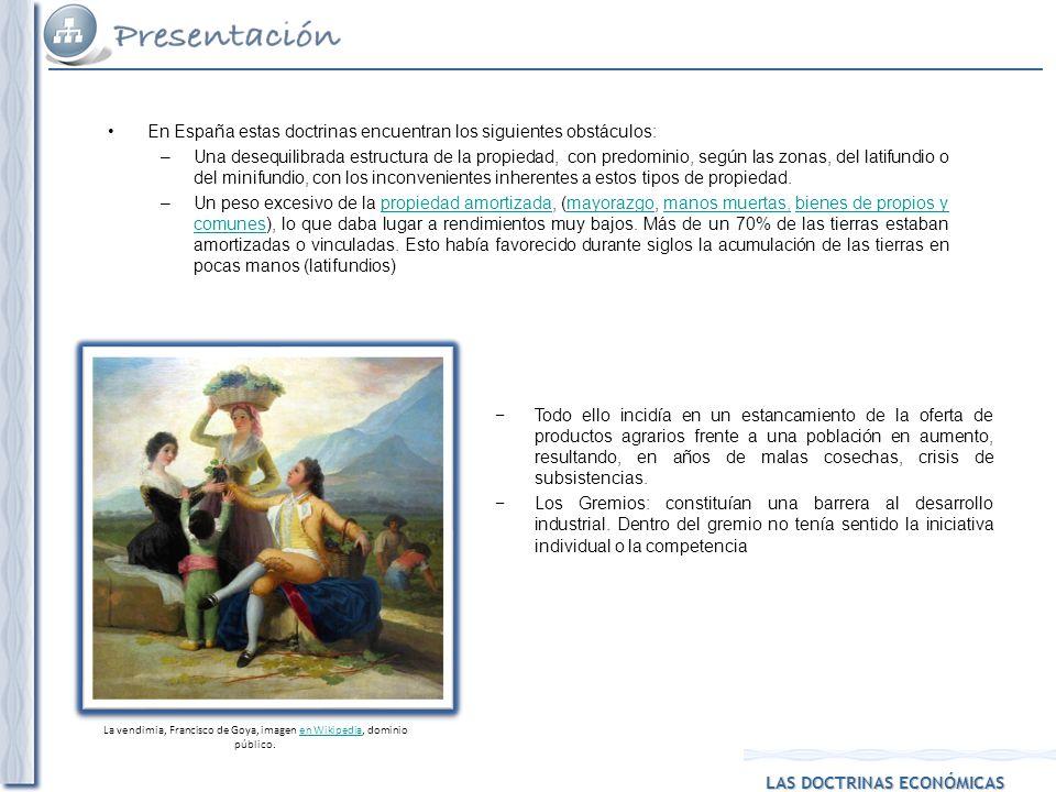 LAS DOCTRINAS ECONÓMICAS En España estas doctrinas encuentran los siguientes obstáculos: –Una desequilibrada estructura de la propiedad, con predomini