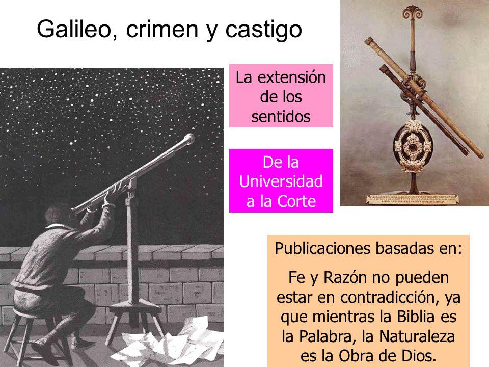 Galileo, crimen y castigo La extensión de los sentidos Publicaciones basadas en: Fe y Razón no pueden estar en contradicción, ya que mientras la Biblia es la Palabra, la Naturaleza es la Obra de Dios.