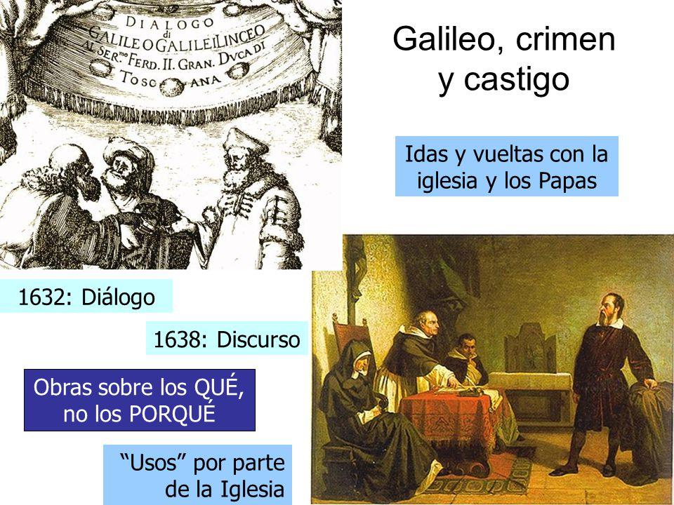 Galileo, crimen y castigo Idas y vueltas con la iglesia y los Papas 1632: Diálogo 1638: Discurso Obras sobre los QUÉ, no los PORQUÉ Usos por parte de la Iglesia
