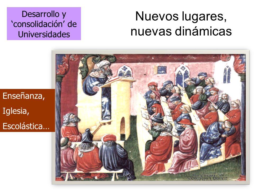 Nuevos lugares, nuevas dinámicas Desarrollo y consolidación de Universidades Enseñanza, Iglesia, Escolástica…