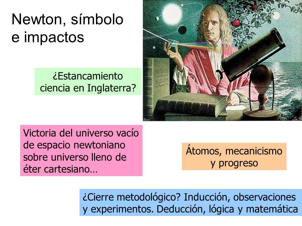 Newton, símbolo e impactos Victoria del universo vacío de espacio newtoniano sobre universo lleno de éter cartesiano… ¿Estancamiento ciencia en Inglat