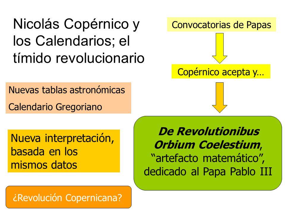 Nicolás Copérnico y los Calendarios; el tímido revolucionario ¿Revolución Copernicana? Convocatorias de Papas Copérnico acepta y… De Revolutionibus Or