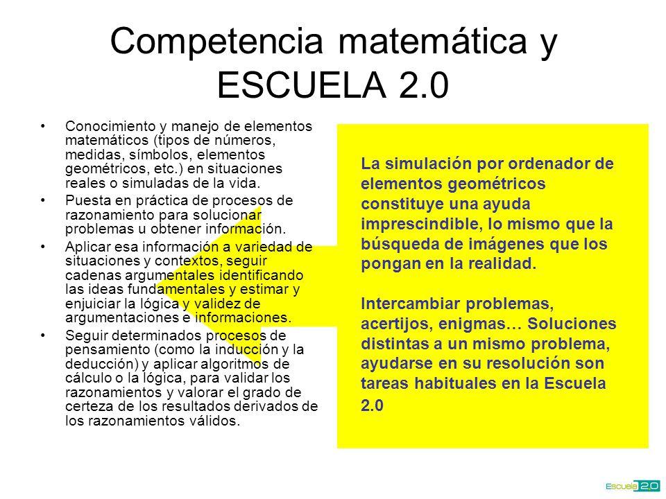 Competencia matemática y ESCUELA 2.0 Conocimiento y manejo de elementos matemáticos (tipos de números, medidas, símbolos, elementos geométricos, etc.) en situaciones reales o simuladas de la vida.