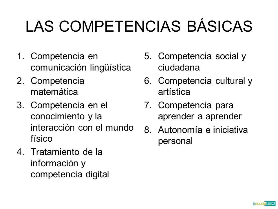 LAS COMPETENCIAS BÁSICAS 1.Competencia en comunicación lingüística 2.Competencia matemática 3.Competencia en el conocimiento y la interacción con el mundo físico 4.Tratamiento de la información y competencia digital 5.Competencia social y ciudadana 6.Competencia cultural y artística 7.Competencia para aprender a aprender 8.Autonomía e iniciativa personal