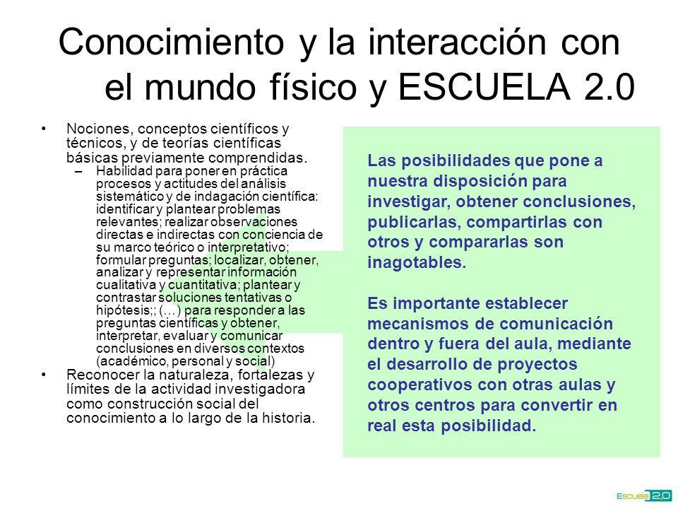 Conocimiento y la interacción con el mundo físico y ESCUELA 2.0 Nociones, conceptos científicos y técnicos, y de teorías científicas básicas previamente comprendidas.